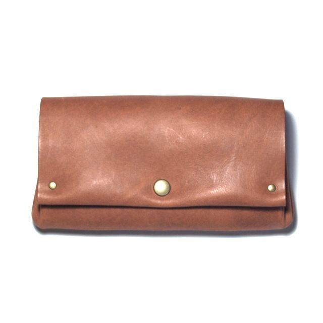 縫製のないふんわり長財布(牛革/プルアップ/ヌバック仕上げ/Pink Brown)