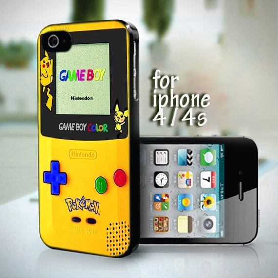 10658 Yellow Pokemon Gameboy design for iPhone 4 or 4s case