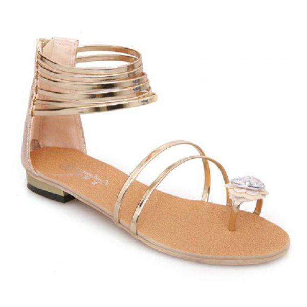 Sweet Flower and Zipper Design Sandals For Women