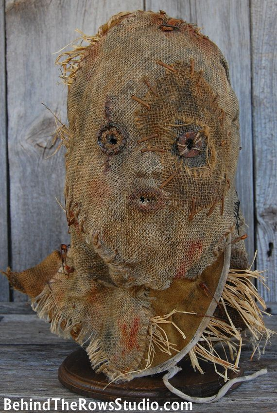 Scarecrow Burlap Mask Prop Halloween Horror by BehindTheRowsStudio, $250.00