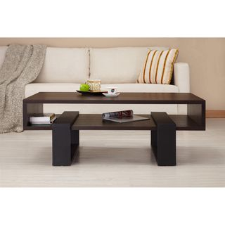 @Overstock - Add a touch of style to your living room with this modern black coffee table. This coffee table features a simple, substantial and contemporary design with a dark walnut spacious table top. It has open shelving below for storage or display.http://www.overstock.com/Home-Garden/Fayth-Dark-Walnut-Black-Coffee-Table/6330953/product.html?CID=214117 $161.99