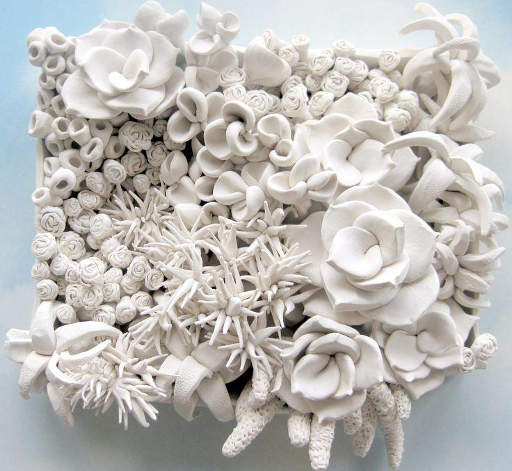 Succulent Clay Wall Sculpture. $300.00, via Etsy.