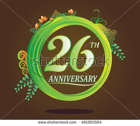 26th anniversary logo with floral ornament, flower and leaf