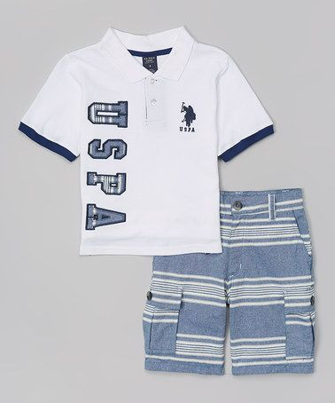 This White 'USPA' Tee & Stripe Shorts - Toddler & Boys is perfect! #zulilyfinds