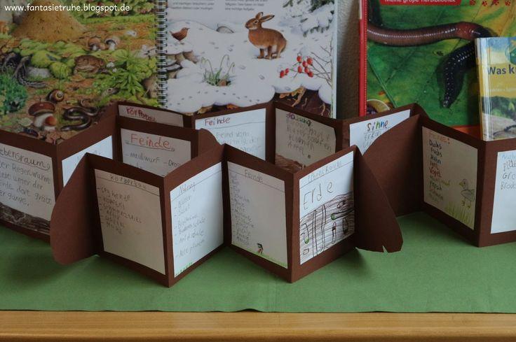 Zum Abschluss unseres Regenwurm-Themas haben meine Schüler Klappbücher in der Form von Regenwürmern hergestellt.    Wir  haben dafür zunächs...