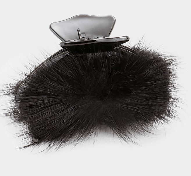 New Very Soft Black Fox Fur Hair Claw Clips / Hair Accessory #Unbranded #Clips #SpecialEveryday