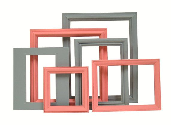 Wall Decor Gray and Coral Grey and Coral Picture Frames Frame Set Home Nursery Modern Cottage