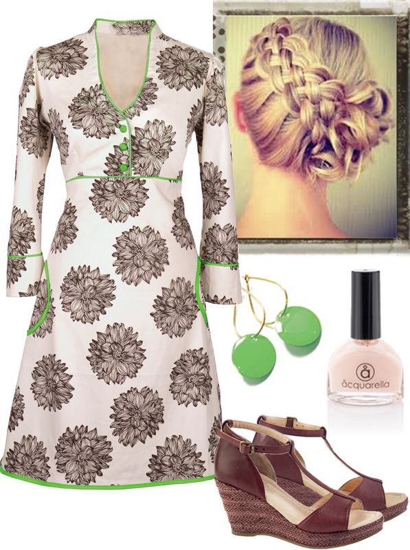 Spring time: In Ecoutures Yvonne dress with accessories: Our green Dot-earrings, shoes from Martin Natur. We recommend Aquarella. the only truly safe nail polish that is both water-based and non-toxic.