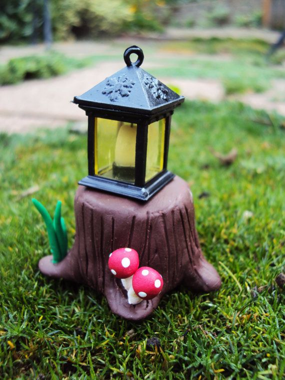 Fairy Garden Lantern, Polymer Clay Tree Stump, Miniature Garden, Terrarium on Etsy, $6.78 AUD