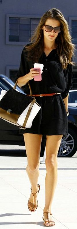 CELINE = Who made Alessandra Ambrosio's black button down dress, studded brown belt and handbag that she wore in Los Angeles on October 29, 2012?   OutfitID