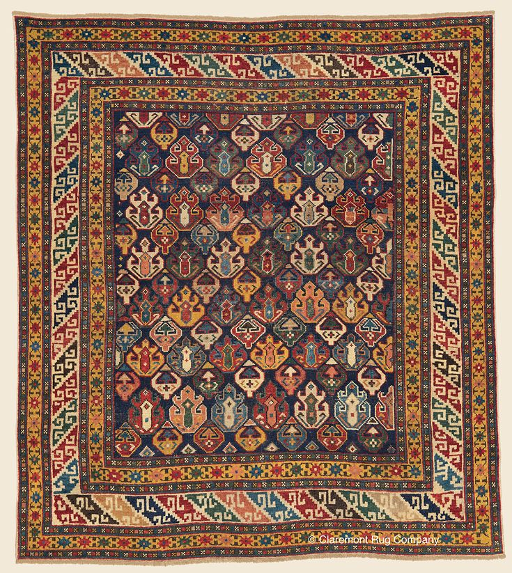 """SHIRVAN, Southeast Caucasian Antique 3' 11"""" x 4' 5"""" — Late 19th Century Rug - Claremont Rug Company Click to learn more about this rug."""