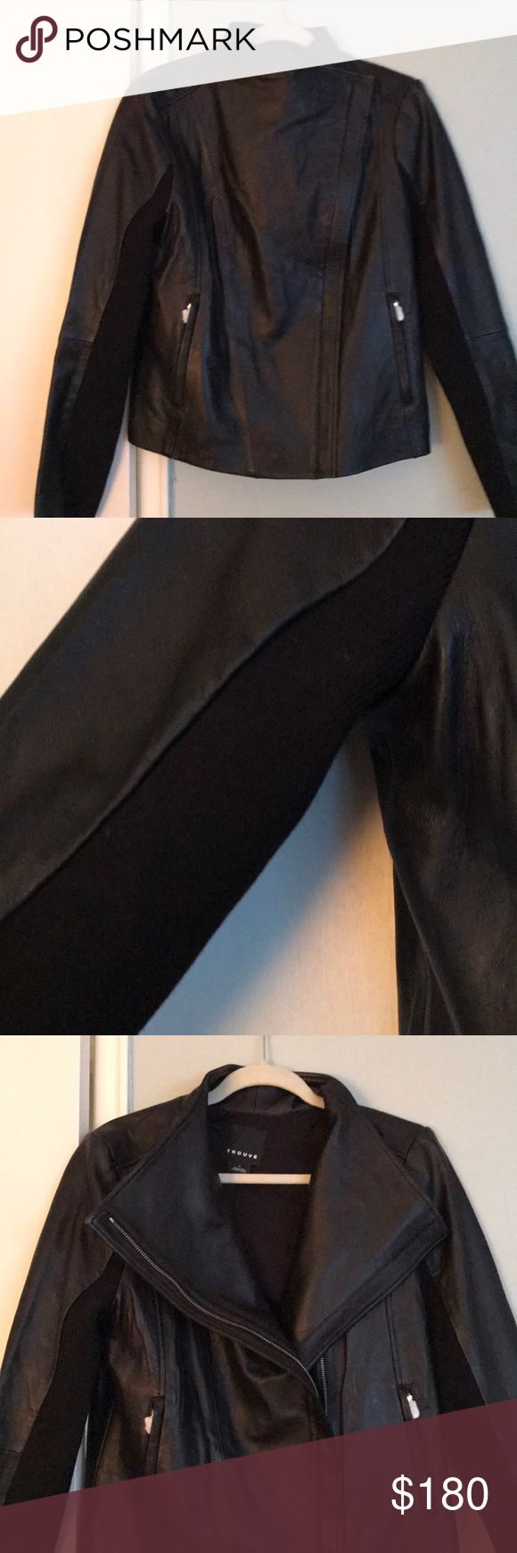 NWOT Trouve Leather Jacket from Nordstrom, L Never worn!  This jacket is in perfect condition.  Soft, buttery leather.  Black, size large.  Moto style with ribbed material under arm.  Seems to run a tad small.  This is in stock at Nordstrom now!  Please let me know if you have any questions. Trouve Jackets & Coats Blazers