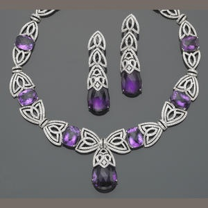 A set of amethyst, diamond and eighteen karat white gold jewelry
