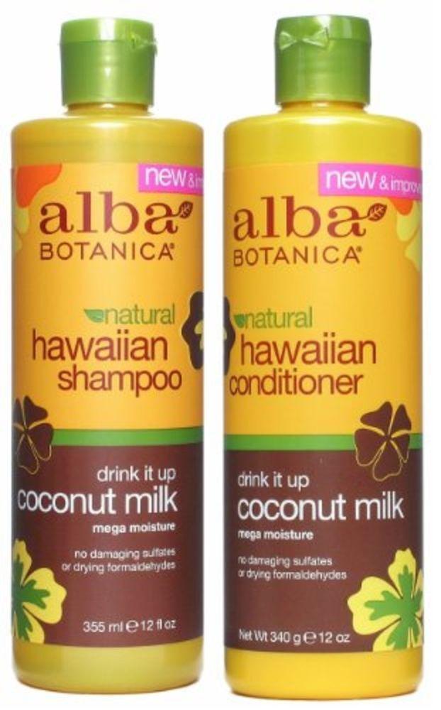 Alba Botanica Hawaiian Coconut Milk Conditioner & Shampoo Set Natural Hair Care  #AlbaBotanica
