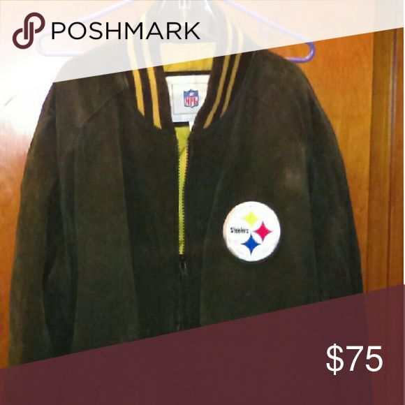 Suede Steelers jacket From NFL.  Quilted lining.  Warm for this winter. NFL Jackets & Coats Bomber & Varsity