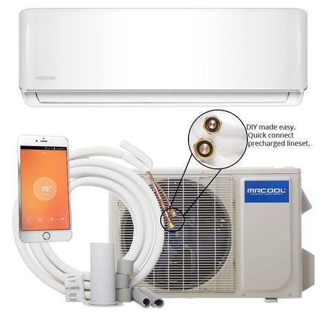 DIY 18,000 BTU 1.5 Ton Ductless Mini-Split Air Conditioner and Heat Pump - 230V/60Hz, White