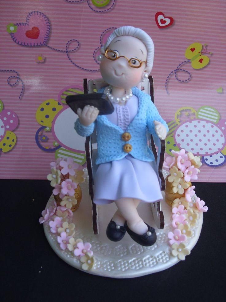 Old Lady Knitting Cake Topper : Topo de bolo vovó moderna clay pasta flexible and cake