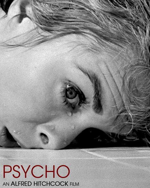 For almost 30 seconds, the camera dollies back and rotates counterclockwise, from a closeup of Janet Leigh's eye to a broad shot of her face on a tile floor. Water droplets fall down her face, but never once does her eye or face even twitch. Click to watch the scene... Classic Hitchcock terror on film.