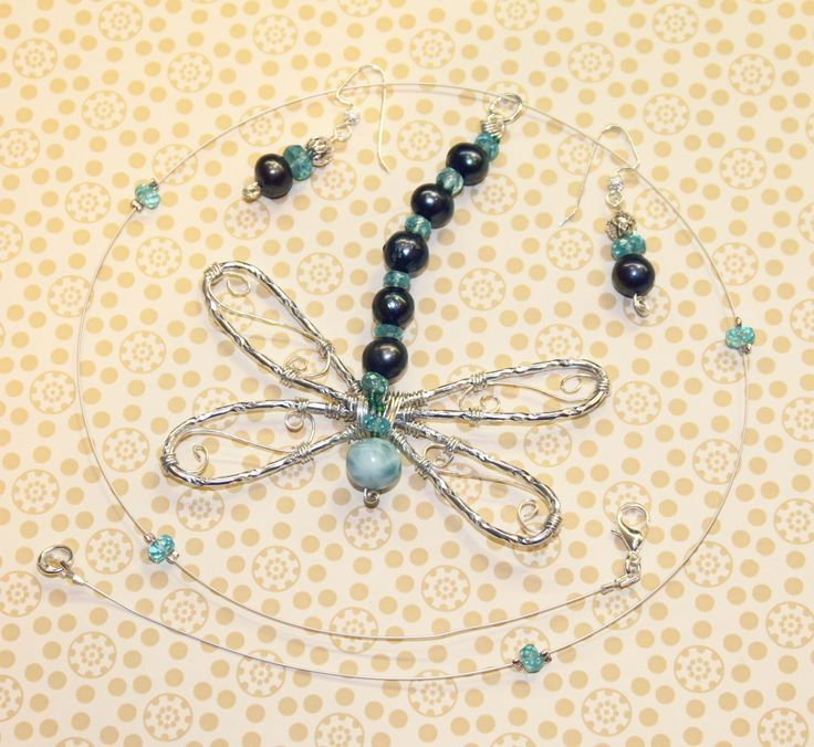 Wire Dragonfly + earrings with pearls, larimar and apatite.