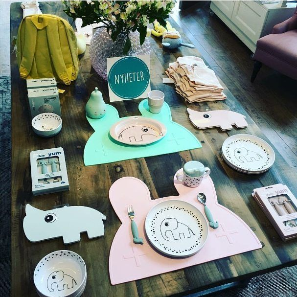 Bunny placies providing a splash of mint and pink at our new Swedish stockists…