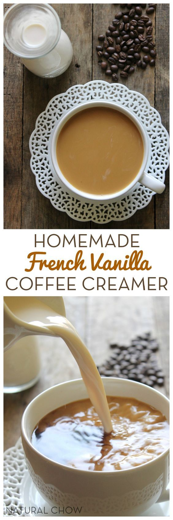 Homemade French Vanilla Coffee Creamer // This homemade french vanilla coffee creamer only takes 5 minutes to make and is such a kitchen staple! Made with 3 simple ingredients, it's so much healthier than storebought creamer.