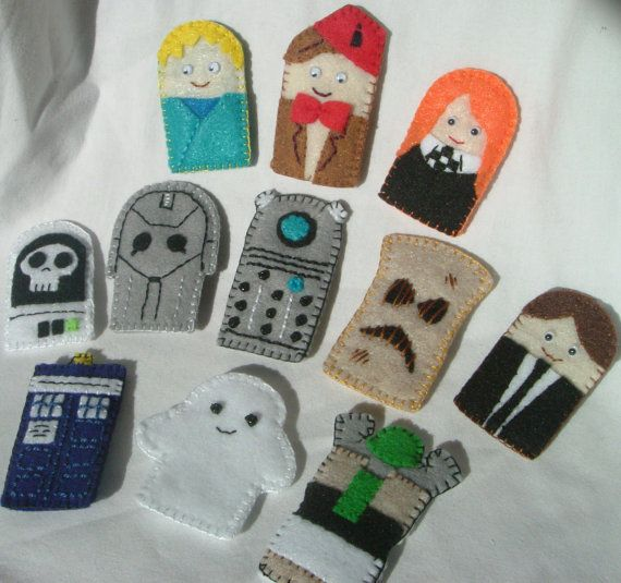 Dr. Who finger puppets. Cute:) But need a River Song:) Love her curly hair!