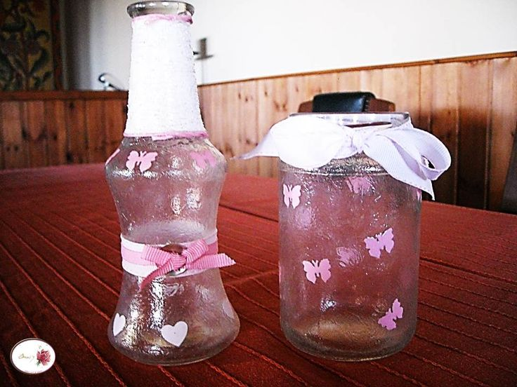 Pink butterflies !!! Oil bottle and favor for a girl christening.
