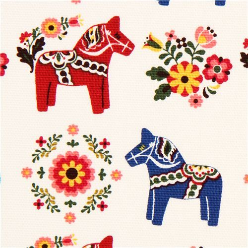 white Swedish Dala horses animal fabric by Cosmo from Japan - Animal Fabric - Fabric - kawaii shop modeS4u