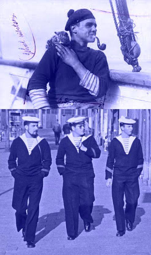 """Het kan ieder jaar tegen het einde van de winter weer gebeuren: fashionbloggers en fashiongoeroe's verklaren de """"navy look"""" hot voor de aankomende lente... Op 27 maart 1858 gaf de Franse marine een uniformvoorschrift uit: de 'marinière', een gebreid onderhemd met 21 witte strepen en 20 of 21 marineblauwe strepen. De legende wil dat het aantal strepen verwijst naar de 21 overwinningen van Napoleon. Maar vissers in Bretagne droegen de gestreepte truien al veel langer..."""