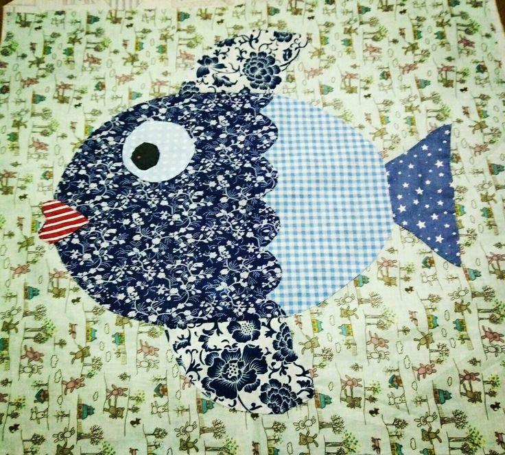 Blue Fish #fabric, #handmade