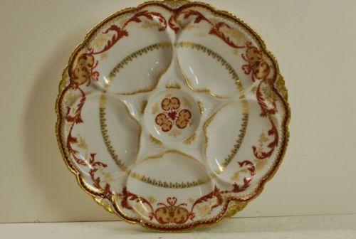 t haviland limoges oyster plate red gold new york 1926. Black Bedroom Furniture Sets. Home Design Ideas