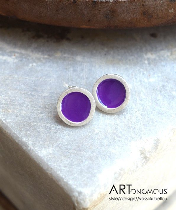 Silver and enamel earrings // artonomous.gr