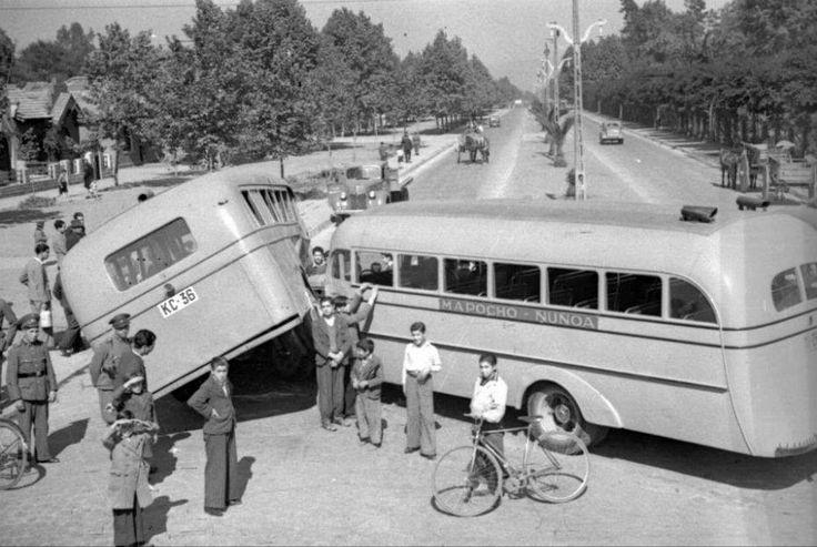 Choque en calle Macul, Ñuñoa, 1940