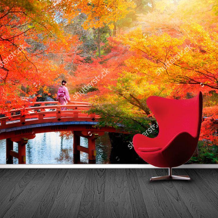 Fotobehang Japanse herfst | Maak het jezelf eenvoudig en bestel fotobehang voorzien van een lijmlaag bij YouPri om zo gemakkelijk jouw woonruimte een nieuwe stijl te geven. Voor het behangen heb je alleen water nodig!   #behang #fotobehang #print #opdruk #afbeelding #diy #behangen #herfst #japan #japans #azie #verreoosten #oosters #brug #najaar #oranje