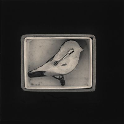 Carved Bird Pin (verso) in box by Hiroshi Wanantabe