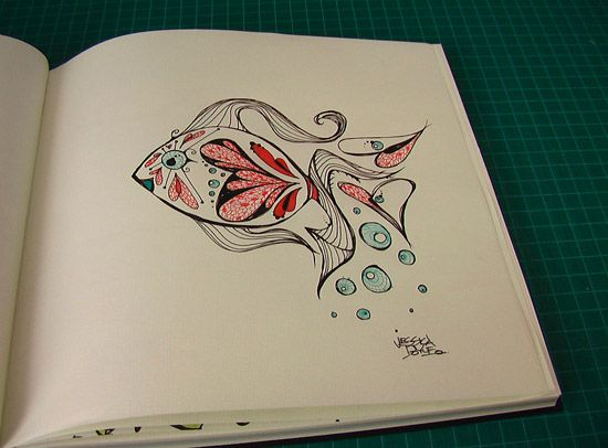 Graffiti Fish and hearts ink drawing in fabriano quadrato journal by jessica doyle