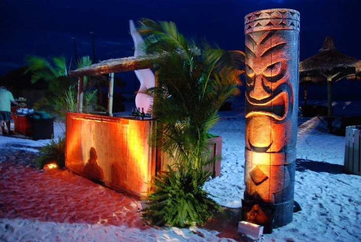 Thatched tiki bar and tiki totem - Polynesian Decor by Wizard Connection