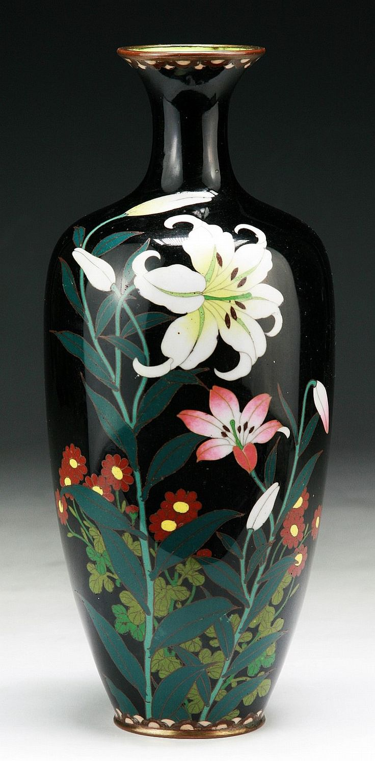 68 best japanese cloisonne vase images on pinterest enamels a japanese antique silver ando cloisonne vase of shouldered body with waisted neck rising to reviewsmspy