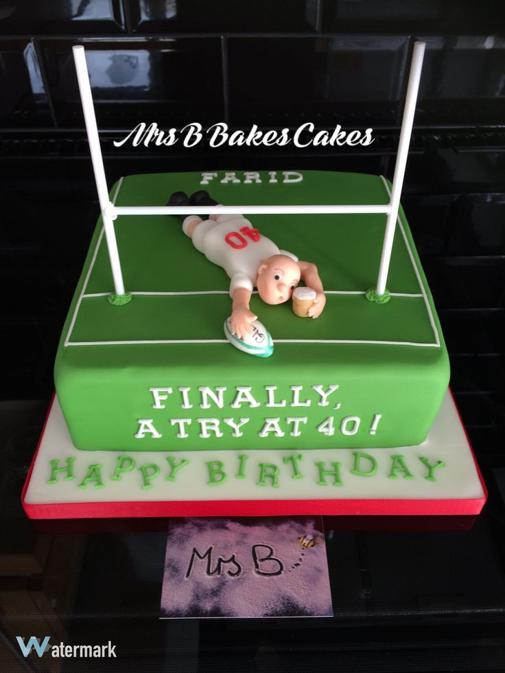 Rugby Pitch single tier square cake with try and a pint of the birthday boys favourite tipple.  2016  Mrs B's Bespoke Cakes https://mrs-bs.co.uk/ https://www.facebook.com/mrsbcakeologist/