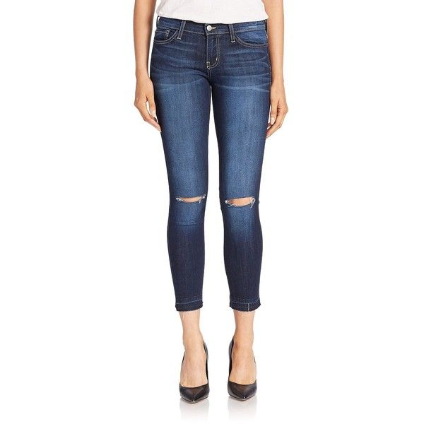 Flying Monkey Distressed Cropped Skinny Jeans ($78) ❤ liked on Polyvore featuring jeans, dark wash, destructed skinny jeans, dark wash skinny jeans, destroyed skinny jeans, dark-wash jeans and ripped jeans
