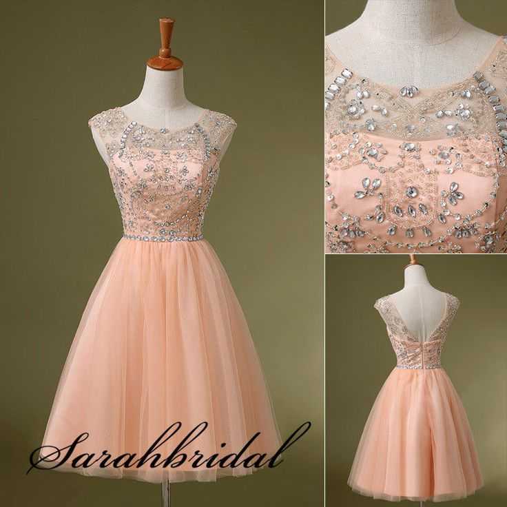 Fashion Cap Sleeves Crystals Party Cocktail Dresses Short Homecoming Prom Gowns #Handmade #Formal