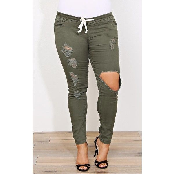 Plus Trina Distressed Joggers (500 ZAR) ❤ liked on Polyvore featuring plus size women's fashion, plus size clothing, plus size activewear, plus size activewear pants, plus size, plus size sportswear and womens plus size activewear
