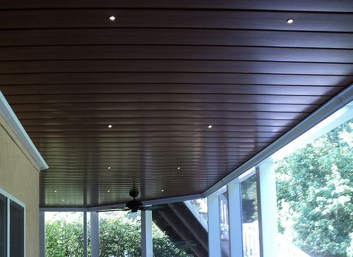 Under-Deck aluminum ceiling, with LED recessed lights.