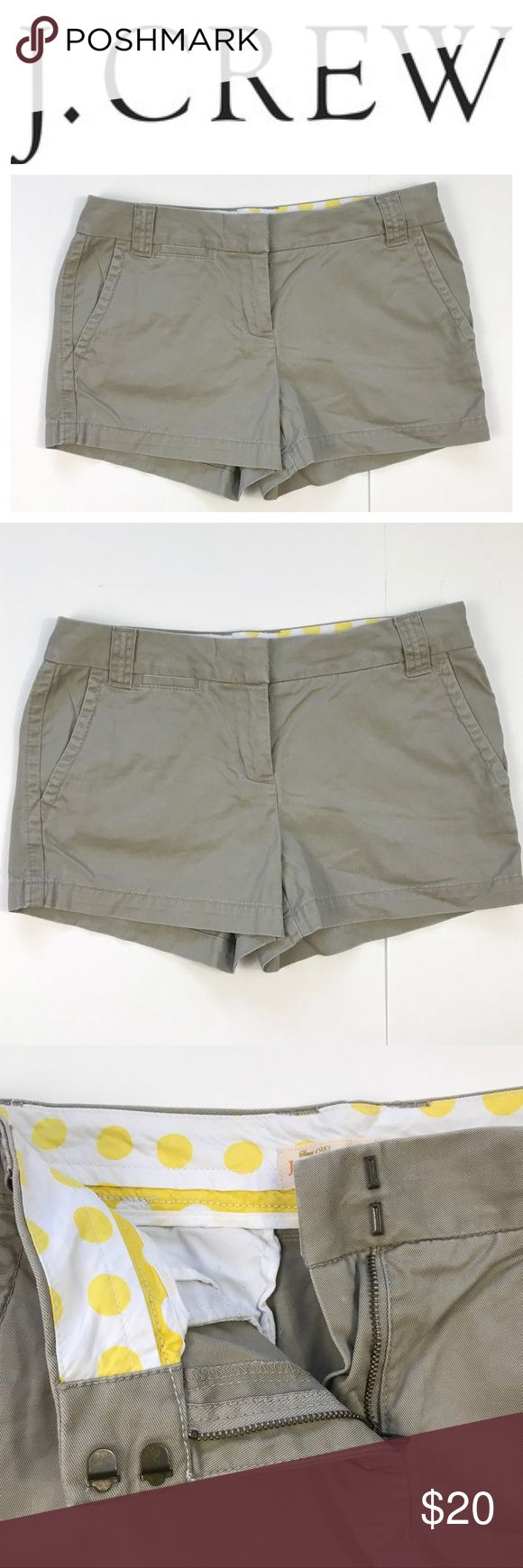 "J Crew Chino Women's City Fit Beige Khaki Shorts Excellent condition. Gently used. Size 6 • Measurements:  -Waist: 16""  -Rise: 9""  -Inseam: 3"" J. Crew Shorts"