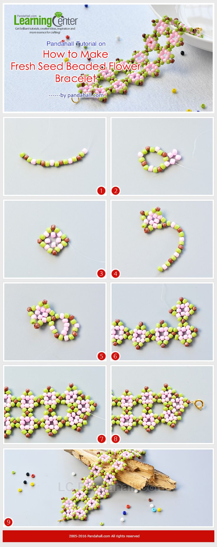 Pandahall Tutorial on How to Make Fresh Seed Beaded Flower Bracelet from LC.Pandahall.com