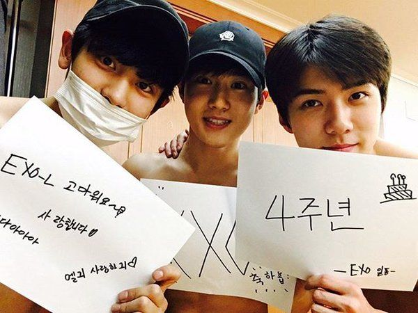 4 years with EXO with shirtless Chanyeol, Suho, and Sehun!
