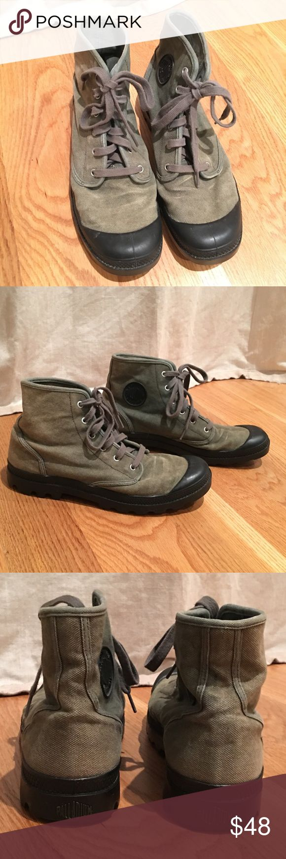 Olive PALLADIUM Men's Boots Great pair of canvas boots! Fashionable and functional! In excellent condition with some minor imperfections...please see all photos! Palladium Shoes Boots