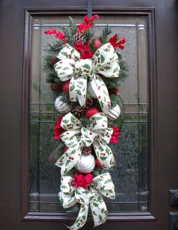 Christmas Wreath On Door   Christmas Swag Christmas Wreath Christmas Door by ...   Christmas