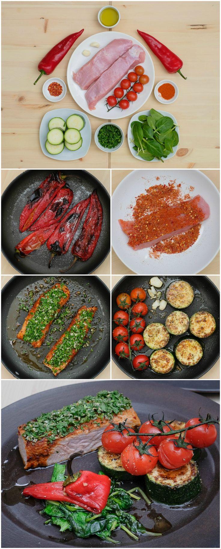 Curcan mediteranean cu spanac sote și ardei. Vezi rețeta și comandă pe http://realfoods.ro/ucook | Livrare 29 mai - 10 iunie 2017