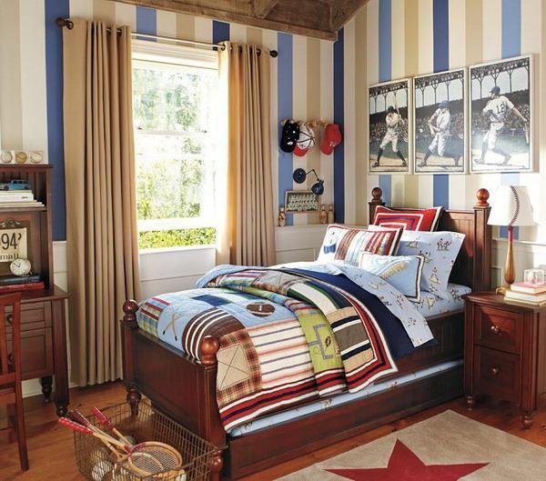 Bedroom, Bedrooms Sport Kids Bedroom Ideas With Stripes